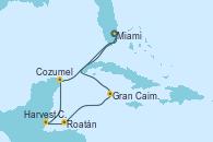 Visitando Miami (Florida/EEUU), Gran Caimán (Islas Caimán), Roatán (Honduras), Harvest Caye (Belize), Cozumel (México), Miami (Florida/EEUU)