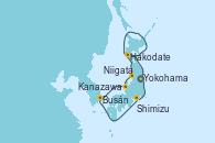 Visitando Yokohama (Japón), Hakodate (Japón), Niigata (Japón), Kanazawa (Japón), Busán (Corea del Sur), Shimizu (Japón), Yokohama (Japón)