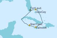 Visitando Fort Lauderdale (Florida/EEUU), CocoCay (Bahamas), Falmouth (Jamaica), Gran Caimán (Islas Caimán), Fort Lauderdale (Florida/EEUU)