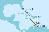 Visitando Fort Lauderdale (Florida/EEUU), Labadee (Haiti), Aruba (Antillas), Curacao (Antillas), Fort Lauderdale (Florida/EEUU)