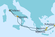 Visitando Civitavecchia (Roma), Santorini (Grecia), Kusadasi (Efeso/Turquía), Mykonos (Grecia), Nápoles (Italia), Civitavecchia (Roma)