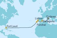 Visitando Civitavecchia (Roma), Cartagena (Murcia), Lisboa (Portugal), Funchal (Madeira), Fort Lauderdale (Florida/EEUU)