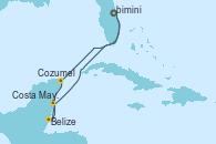 Visitando Puerto Cañaveral (Florida), Cozumel (México), Belize (Caribe), Costa Maya (México), Puerto Cañaveral (Florida)