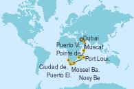 Visitando Dubai, Muscat (Omán), La Digue (Seychelles), Puerto Victoria (Seychelles), Nosy Be (Madagascar), Port Louis (Mauricio), Pointe des Galets (Francia), Puerto Elizabeth (Sudáfrica), Mossel Bay (Sudáfrica), Ciudad del Cabo (Sudáfrica)