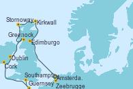 Visitando Ámsterdam (Holanda), Zeebrugge (Bruselas), Edimburgo (Escocia), Kirkwall (Escocia), Stornoway (Isla de Lewis/Escocia), Greenock (Escocia), Dublin (Irlanda), Cork (Irlanda), Guernsey (Channel Islands), Southampton (Inglaterra)