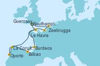 Visitando Southampton (Inglaterra), Zeebrugge (Bruselas), Le Havre (Francia), Burdeos (Francia), Bilbao (España), La Coruña (Galicia/España), Oporto (Portugal), Guernsey (Channel Islands), Southampton (Inglaterra)