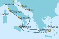 Visitando Civitavecchia (Roma), Livorno, Pisa y Florencia (Italia), Nápoles (Italia), Santorini (Grecia), Mykonos (Grecia), Cefalonia (Grecia), Kotor (Montenegro), Split (Croacia), Venecia (Italia)