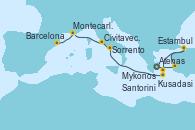 Visitando Atenas (Grecia), Kusadasi (Efeso/Turquía), Estambul (Turquía), Mykonos (Grecia), Santorini (Grecia), Sorrento (Nápoles/Italia), Civitavecchia (Roma), Montecarlo (Mónaco), Barcelona