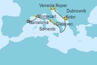 Visitando Barcelona, Montecarlo (Mónaco), Civitavecchia (Roma), Sorrento (Nápoles/Italia), Catania (Sicilia), Kotor (Montenegro), Dubrovnik (Croacia), Koper (Eslovenia), Venecia (Italia)