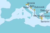 Visitando Estambul (Turquía), Mykonos (Grecia), Atenas (Grecia), Parati (Brasil), Santorini (Grecia), Dubrovnik (Croacia), Split (Croacia), Koper (Eslovenia), Venecia (Italia)