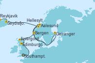 Visitando Southampton (Inglaterra), Edimburgo (Escocia), Invergordon (Escocia), Bergen (Noruega), Aalesund (Noruega), Hellesylt (Noruega), Geiranger (Noruega), Seydisfjordur (Islandia), Ísafjörður (Islandia), Reykjavik (Islandia), Reykjavik (Islandia)