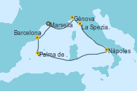 Visitando Marsella (Francia), Génova (Italia), La Spezia, Florencia y Pisa (Italia), Nápoles (Italia), Palma de Mallorca (España), Barcelona, Marsella (Francia)
