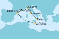 Visitando Marsella (Francia), Génova (Italia), Civitavecchia (Roma), Palermo (Italia), La Valletta (Malta), Barcelona, Marsella (Francia)