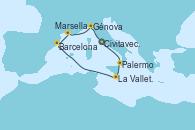 Visitando Civitavecchia (Roma), Palermo (Italia), La Valletta (Malta), Barcelona, Marsella (Francia), Génova (Italia), Civitavecchia (Roma)