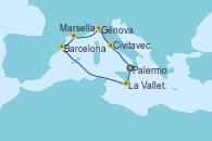 Visitando Palermo (Italia), La Valletta (Malta), Barcelona, Marsella (Francia), Génova (Italia), Civitavecchia (Roma), Palermo (Italia)