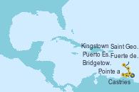Visitando Fuerte de France (Martinica),Pointe a Pitre (Guadalupe),Castries (Santa Lucía/Caribe),Bridgetown (Barbados),Puerto España (Trinidad y Tobago),Saint George (Grenada),Kingstown (Granadinas),Fuerte de France (Martinica)