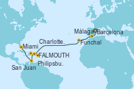 Visitando Barcelona, Málaga, Funchal (Madeira), St. John´s (Antigua y Barbuda), Philipsburg (St. Maarten), Charlotte Amalie (St. Thomas), San Juan (Puerto Rico), San Juan (Puerto Rico), Miami (Florida/EEUU)