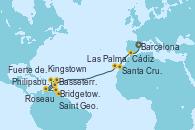 Visitando Barcelona, Cádiz (España), Santa Cruz de Tenerife (España), Las Palmas de Gran Canaria (España), Philipsburg (St. Maarten), Basseterre (Antillas), Roseau (Dominica), Bridgetown (Barbados), Saint George (Grenada), Kingstown (Granadinas), Fuerte de France (Martinica)