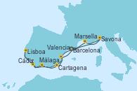 Visitando Barcelona, Savona (Italia), Marsella (Francia), Málaga, Cádiz (España), Lisboa (Portugal), Cartagena (Murcia), Valencia, Barcelona