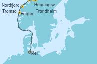 Visitando Kiel (Alemania), Bergen (Noruega), Honningsvag (Noruega), Honningsvag (Noruega), Tromso (Noruega), Trondheim (Noruega), Nordfjordeid, Kiel (Alemania)