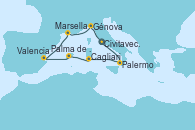Visitando Civitavecchia (Roma), Palermo (Italia), Cagliari (Cerdeña), Palma de Mallorca (España), Valencia, Marsella (Francia), Génova (Italia), Civitavecchia (Roma)