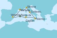 Visitando Palma de Mallorca (España), Valencia, Marsella (Francia), Génova (Italia), Civitavecchia (Roma), Palermo (Italia), Cagliari (Cerdeña), Palma de Mallorca (España)