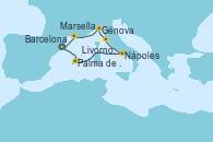 Visitando Barcelona, Palma de Mallorca (España), Nápoles (Italia), Livorno, Pisa y Florencia (Italia), Génova (Italia), Marsella (Francia), Barcelona