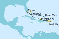 Visitando Miami (Florida/EEUU), Great Stirrup Cay (Bahamas), Charlotte Amalie (St. Thomas), Road Town (Isla Tórtola/Islas Vírgenes), PUERTO PLATA, REPUBLICA DOMINICANA, Miami (Florida/EEUU)