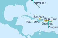 Visitando Nueva York (Estados Unidos), PUERTO PLATA, REPUBLICA DOMINICANA, Road Town (Isla Tórtola/Islas Vírgenes), Philipsburg (St. Maarten), Charlotte Amalie (St. Thomas), San Juan (Puerto Rico)