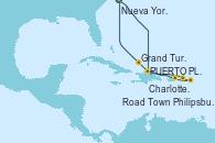Visitando Nueva York (Estados Unidos), PUERTO PLATA, REPUBLICA DOMINICANA, Charlotte Amalie (St. Thomas), Philipsburg (St. Maarten), Road Town (Isla Tórtola/Islas Vírgenes), Grand Turks(Turks & Caicos), Nueva York (Estados Unidos)