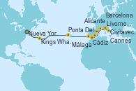 Visitando Nueva York (Estados Unidos), Kings Wharf (Bermudas), Ponta Delgada (Azores), Cádiz (España), Málaga, Alicante (España), Barcelona, Cannes (Francia), Livorno, Pisa y Florencia (Italia), Civitavecchia (Roma)