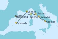 Visitando Barcelona, Ajaccio (Córcega), Nápoles (Italia), Civitavecchia (Roma), Livorno, Pisa y Florencia (Italia), Cannes (Francia), Palma de Mallorca (España), Barcelona