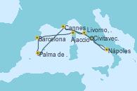 Visitando Civitavecchia (Roma), Livorno, Pisa y Florencia (Italia), Cannes (Francia), Palma de Mallorca (España), Barcelona, Ajaccio (Córcega), Nápoles (Italia), Civitavecchia (Roma)