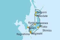 Visitando Tokio (Japón), Hakodate (Japón), Sapporo (Japón), Kanazawa (Japón), Busán (Corea del Sur), Nagasaki (Japón), Kagoshima (Japón), Kyoto (Japón), Kyoto (Japón), Shimizu (Japón), Tokio (Japón)