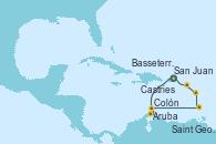 Visitando San Juan (Puerto Rico), Aruba (Antillas), Colón, Saint George (Grenada), Castries (Santa Lucía/Caribe), Basseterre (Antillas), San Juan (Puerto Rico)