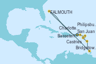 Visitando San Juan (Puerto Rico), Charlotte Amalie (St. Thomas), St. John´s (Antigua y Barbuda), Bridgetown (Barbados), Castries (Santa Lucía/Caribe), Basseterre (Antillas), Philipsburg (St. Maarten), San Juan (Puerto Rico)
