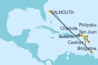 Visitando San Juan (Puerto Rico), Charlotte Amalie (St. Thomas), St. John´s (Antigua y Barbuda), Bridgetown (Barbados), Basseterre (Antillas), Castries (Santa Lucía/Caribe), Philipsburg (St. Maarten), San Juan (Puerto Rico)