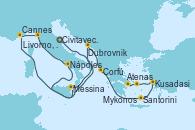 Visitando Civitavecchia (Roma), Cannes (Francia), Livorno, Pisa y Florencia (Italia), Nápoles (Italia), Messina (Sicilia), Dubrovnik (Croacia), Corfú (Grecia), Santorini (Grecia), Kusadasi (Efeso/Turquía), Mykonos (Grecia), Atenas (Grecia)