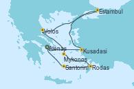 Visitando Atenas (Grecia), Kusadasi (Efeso/Turquía), Estambul (Turquía), Volos (Grecia), Mykonos (Grecia), Rodas (Grecia), Santorini (Grecia), Atenas (Grecia)
