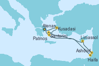 Visitando Atenas (Grecia), Kusadasi (Efeso/Turquía), Patmos (Grecia), Ashdod (Israel), Haifa (Israel), Limassol (Chipre), Santorini (Grecia), Atenas (Grecia)
