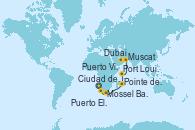 Visitando Ciudad del Cabo (Sudáfrica), Mossel Bay (Sudáfrica), Puerto Elizabeth (Sudáfrica), Pointe des Galets (Francia), Port Louis (Mauricio), Puerto Victoria (Seychelles), La Digue (Seychelles), Muscat (Omán), Dubai