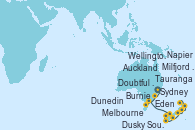 Visitando Sydney (Australia), Eden (Nueva Gales), Burnie (Tasmania/Australia), Melbourne (Australia), Milfjord Sound (Nueva Zelanda), Dusky Sound (Nueva Zelanda), Doubtful Sound (Nueva Zelanda), Dunedin (Nueva Zelanda), Wellington (Nueva Zelanda), Napier (Nueva Zelanda), Tauranga (Nueva Zelanda), Auckland (Nueva Zelanda)