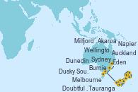 Visitando Auckland (Nueva Zelanda), Tauranga (Nueva Zelanda), Napier (Nueva Zelanda), Wellington (Nueva Zelanda), Akaroa (Nueva Zelanda), Dunedin (Nueva Zelanda), Milfjord Sound (Nueva Zelanda), Doubtful Sound (Nueva Zelanda), Dusky Sound (Nueva Zelanda), Melbourne (Australia), Burnie (Tasmania/Australia), Eden (Nueva Gales), Sydney (Australia)