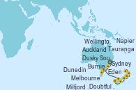 Visitando Sydney (Australia), Eden (Nueva Gales), Burnie (Tasmania/Australia), Melbourne (Australia), Milfjord Sound (Nueva Zelanda), Doubtful Sound (Nueva Zelanda), Dusky Sound (Nueva Zelanda), Dunedin (Nueva Zelanda), Wellington (Nueva Zelanda), Napier (Nueva Zelanda), Tauranga (Nueva Zelanda), Auckland (Nueva Zelanda)