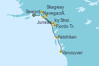 Visitando Seward (Alaska), Navegación por Glaciar Hubbard (Alaska), Icy Strait Point (Alaska), Fiordo Tracy Arm (Alaska), Juneau (Alaska), Skagway (Alaska), Ketchikan (Alaska), Vancouver (Canadá)