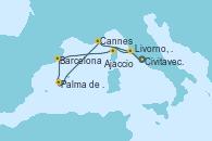 Visitando Civitavecchia (Roma), Livorno, Pisa y Florencia (Italia), Cannes (Francia), Palma de Mallorca (España), Barcelona, Ajaccio (Córcega), Civitavecchia (Roma)