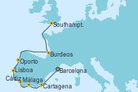 Visitando Barcelona, Cartagena (Murcia), Málaga, Cádiz (España), Lisboa (Portugal), Oporto (Portugal), Burdeos (Francia), Southampton (Inglaterra)