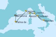 Visitando Barcelona, Ajaccio (Córcega), Civitavecchia (Roma), Nápoles (Italia), Livorno, Pisa y Florencia (Italia), Cannes (Francia), Palma de Mallorca (España), Barcelona