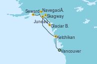 Visitando Vancouver (Canadá), Ketchikan (Alaska), Juneau (Alaska), Skagway (Alaska), Glaciar Bay (Alaska), Navegación por Glaciar Hubbard (Alaska), Seward (Alaska)