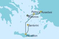 Visitando Atenas (Grecia)Mykonos (Grecia), Kusadasi (Efeso/Turquía), Patmos (Grecia), Heraklion (Creta), Santorini (Grecia), Atenas (Grecia)